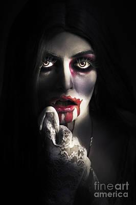 Scary Vampire Woman. Bloody Halloween Horror Art Print by Jorgo Photography - Wall Art Gallery