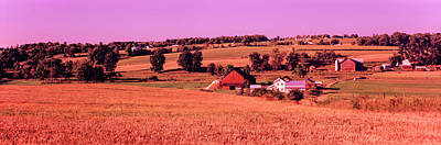 Scenic View Of A Farm, Amish Country Art Print by Panoramic Images