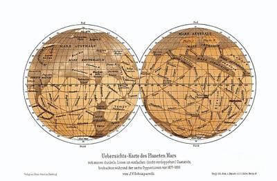 Schiaparellis Map Of Mars, 1877-1888 Art Print by Detlev van Ravenswaay