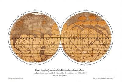 Schiaparellis Map Of Mars, 1882-1888 Art Print