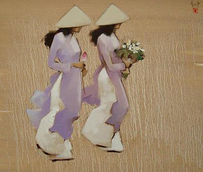 Schoolgirls In Violet Dresses Original