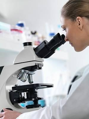 Scientist Using Microscope Art Print