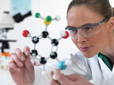 Technician Photograph - Scientist With Molecular Model by Tek Image