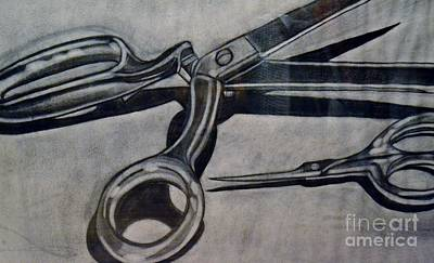 Drawing - Scissors by Cecilia Stevens
