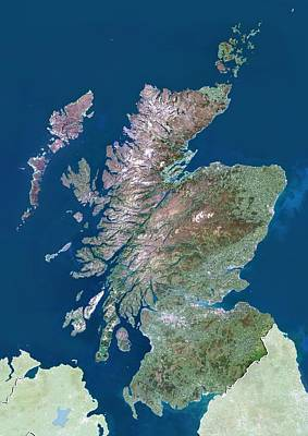 Scotland, Uk, Satellite Image Art Print