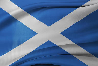Waving Flag Photograph - Scottish Flag by Les Cunliffe