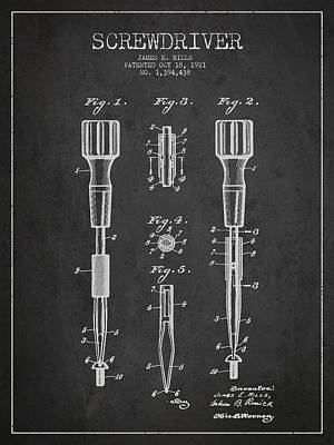 Carpenter Digital Art - Screwdriver Patent Drawing From 1921 by Aged Pixel