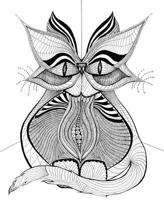 Dots And Lines Drawing - Scruffy by Audrey Miller
