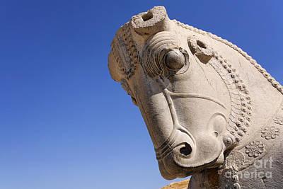 Ancient Persia Photograph - Sculture Of A Horses Head At Persepolis In Iran by Robert Preston
