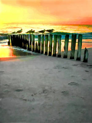 Pilings Painting - Sea Gulls On Pilings  At Sunset by Elaine Plesser