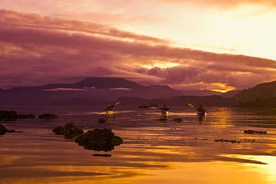 Sea Kayakers Paddle Around Near Island Art Print