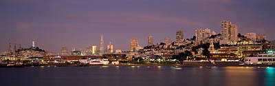 Sea With A City In The Background, Coit Art Print by Panoramic Images