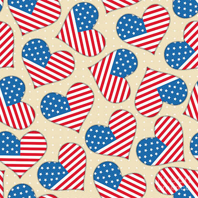 Landmark Digital Art - Seamless Pattern For 4th Of July by Allies Interactive
