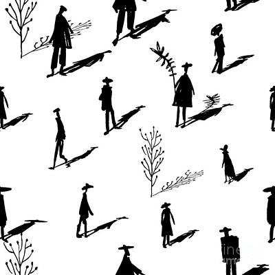 Shadow Wall Art - Digital Art - Seamless Pattern Of Trees And People by Yurta