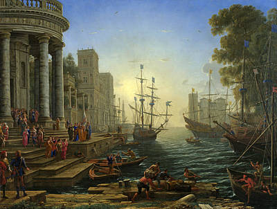 Ursula Painting - Seaport With The Embarkation Of Saint Ursula by Claude Lorrain