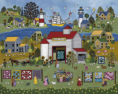 Quilts Painting - Seaside Quilts by Medana Gabbard