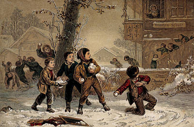 Snowball Fight Photograph - Seasons Greetings, Happy Holidays, 19th by Wellcome Images