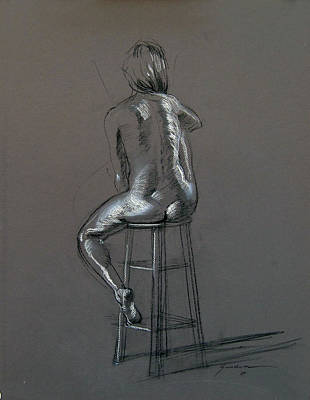 Drawing - Seated Nude by Keith Gunderson