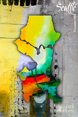 Seattle Skyline Mixed Media - Seattle Map Watercolor by Marvin Blaine