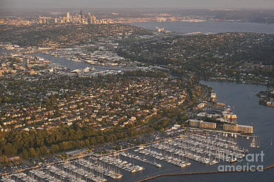 Photograph - Seattle Skyline With Shilshole Marina Along The Puget Sound  by Jim Corwin