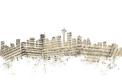 Seattle Skyline Digital Art - Seattle Washington Skyline Sheet Music Cityscape by Michael Tompsett