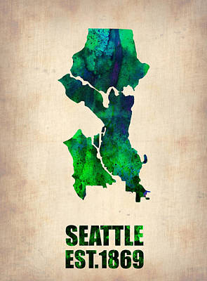 City Digital Art - Seattle Watercolor Map by Naxart Studio