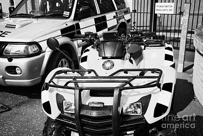 Selection Of Police Vehicles Including Quad Atv On Display Outside Holywood Police Station On An Ope Art Print