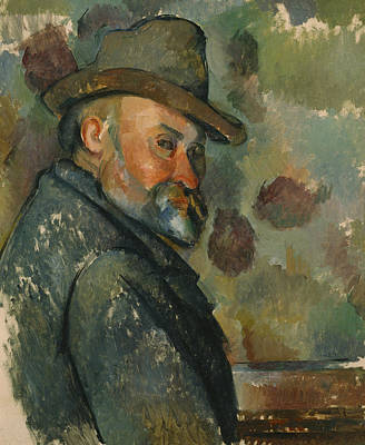 Cezanne Self-portrait With A Hat Painting - Self-portrait With A Hat by Paul Cezanne
