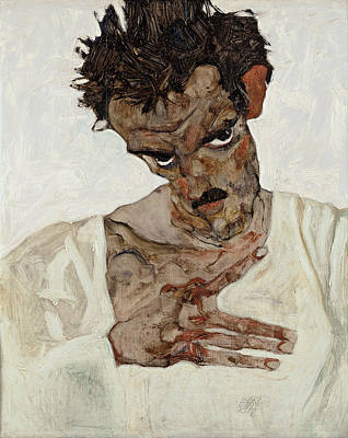 Egon Schiele Painting - Self-portrait With Lowered Head by Celestial Images