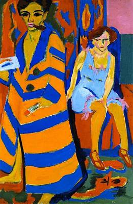 Hamburger Painting - Self-portrait With Model by Ernst Ludwig Kirchner