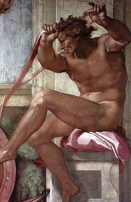 Separation Painting - Separation Of Land From Sea - Ignudo Detail by Michelangelo Buonarroti