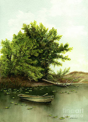 Painting - Serene Solitude Boat And Trees by Nan Wright