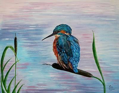 Leighton Moss Wall Art - Painting - Kingfisher Bird Serenity Painting by Lisa Straker