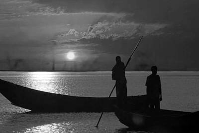 Serenity Of The Nature In Congo 2 Boat Men Calling It A Day At The Sunset Who Knew It Could Be So Pe Art Print by Navin Joshi