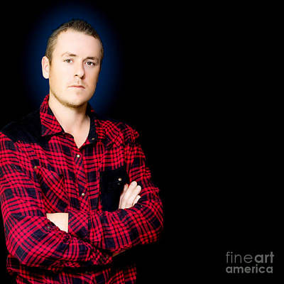 Serious Male Worker On Dark Blue Background Art Print