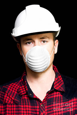 Serious Young Male Artisan Wearing Protective Mask Art Print by Jorgo Photography - Wall Art Gallery