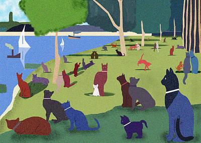 Seurat's Cats Art Print by Clare Higgins