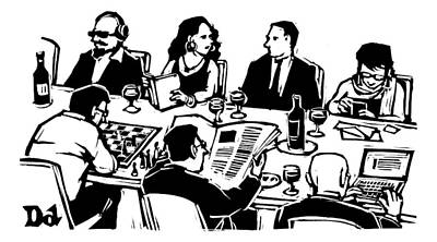 Parties Drawing - Seven People Are Seen Sitting At A Table by Drew Dernavich
