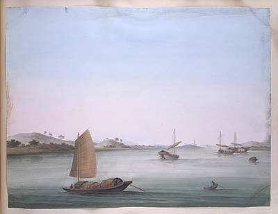 Gouache Photograph - Several Boats by British Library