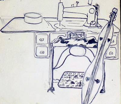Drawing - Sewing by Erika Chamberlin
