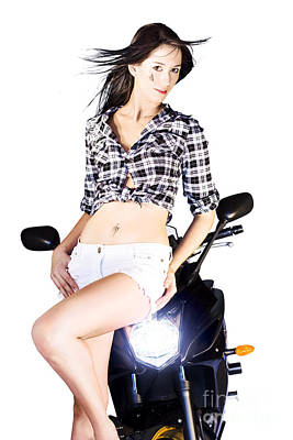 Sexy Biker Girl Art Print by Jorgo Photography - Wall Art Gallery