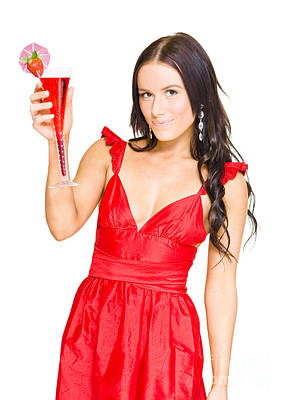 Martini Photos - Sexy Brunette Woman With Strawberry Cocktail by Jorgo Photography - Wall Art Gallery