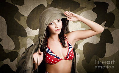 Special Force Photograph - Sexy Vintage Army Girl Saluting by Jorgo Photography - Wall Art Gallery