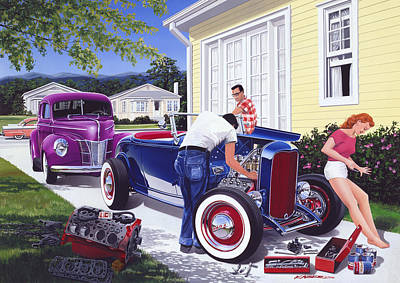 Shade Tree Mechanic Art Print by Bruce Kaiser