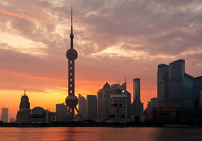 Photograph - Shanghai Morning Sunrise by Songquan Deng