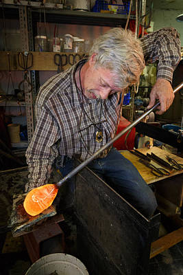 Photograph - Shaping Molten Glass by Paul Indigo
