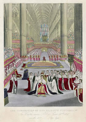 Westminster Abbey Drawing - She Is Crowned At Westminster Abbey by Mary Evans Picture Library