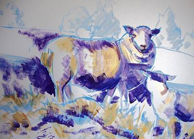 Sheep Drawing - Sheep And Lamb by Mike Jory