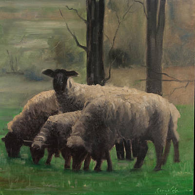 Painting - Sheep Family by John Reynolds