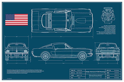 Automotive Digital Art - Shelby Mustang Gt350 Blueplanprint by Douglas Switzer